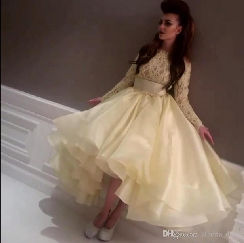 Najnowsze najlepsze sukienki celebrytowe Myriam Fareslight Yellow Evening Dress Prom Dress Crew Neck Lace Zroszony Z Długim Rękawem Teal Długość Party Suknie