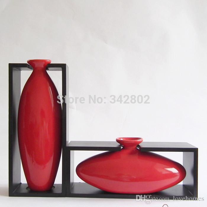 modern egg shape with wood frame ceramic vase for home decor tabletop vase white red colors glass flower vases cheap glass flower vases for sale from