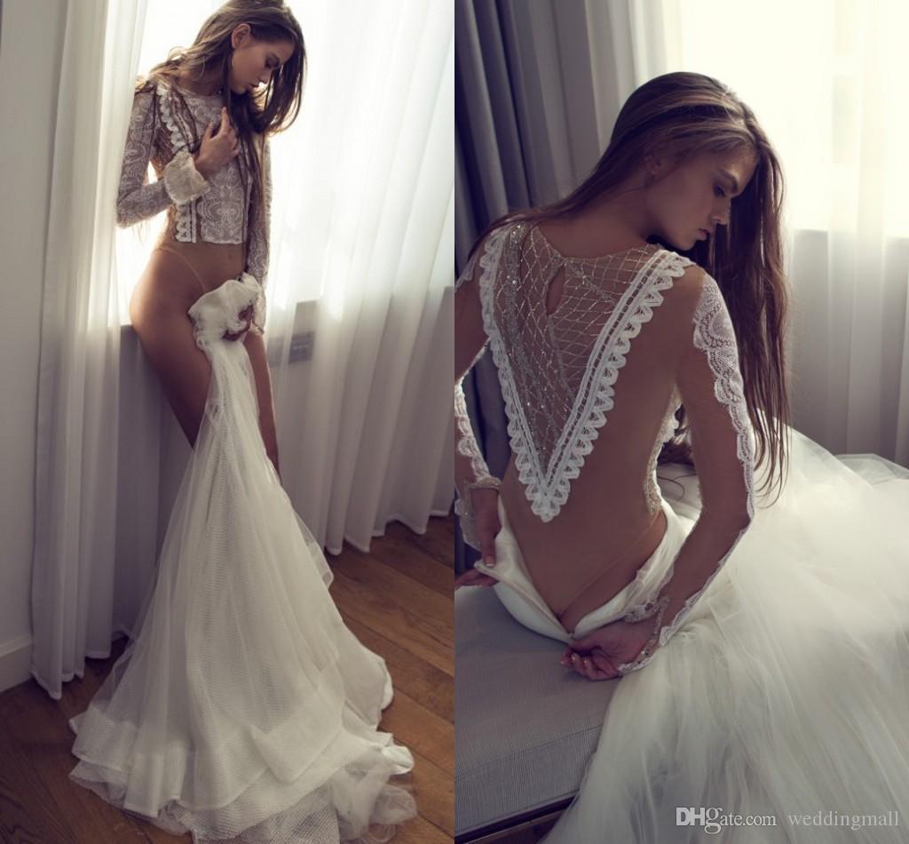 Zahavit Tshuba 2016 Lace Arabic Wedding Dresses Two Pieces Crystals Long Sleeves Mermaid Gowns Elegant Bridal White Dress Amazing