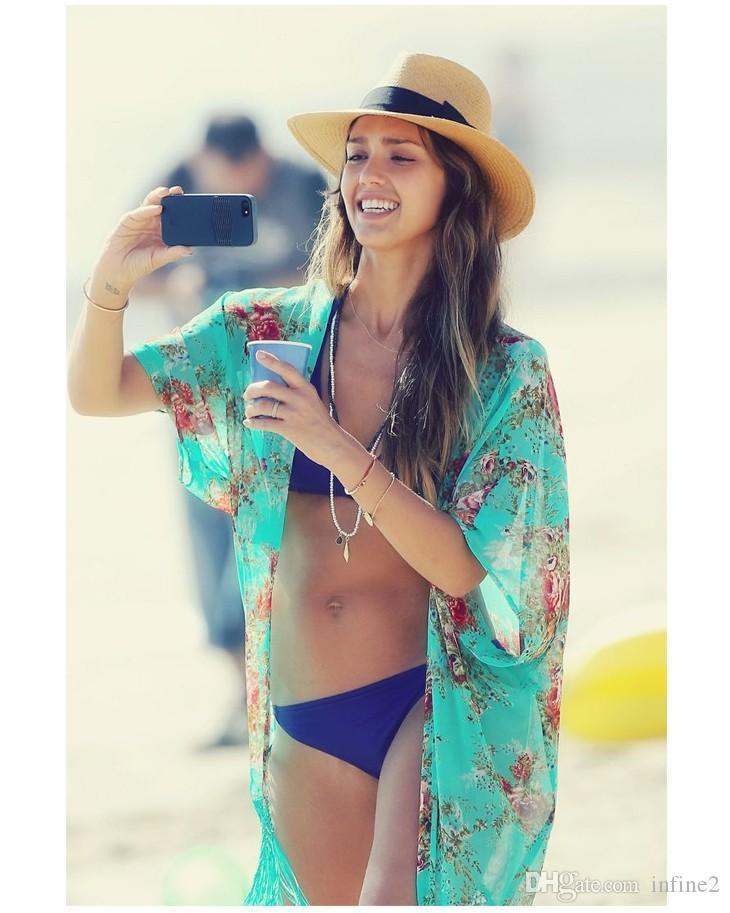 NOVA Moda Mulheres Kaftan Praia Camisa Sexy Senhoras Swimwear Bikini Beach Cover Up impressão Maiô Capa Ups Praia Desgaste Sarong