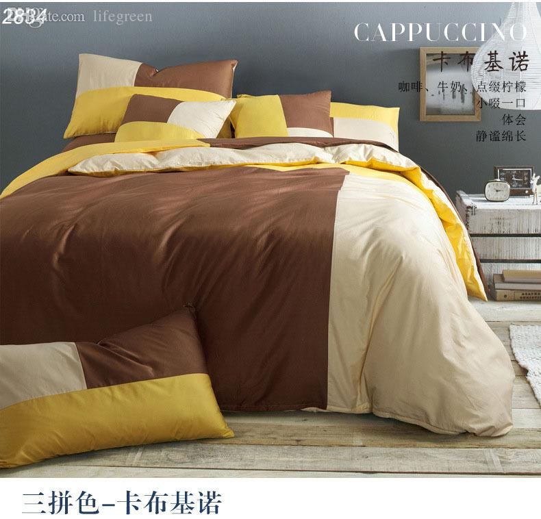 Wholesale-designer bedding sets solid mixed color bed set 3pcs bedding 4pcs  bedding set brown yellow cotton bed linens white bedspread2834