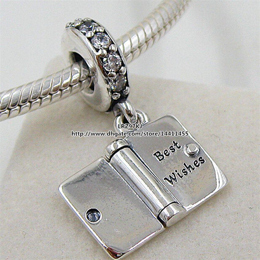 925 en argent sterling anniversaire souhaite dangle charme perle avec Cz clair s'adapte pandora européen bijoux bracelets collier pendentif