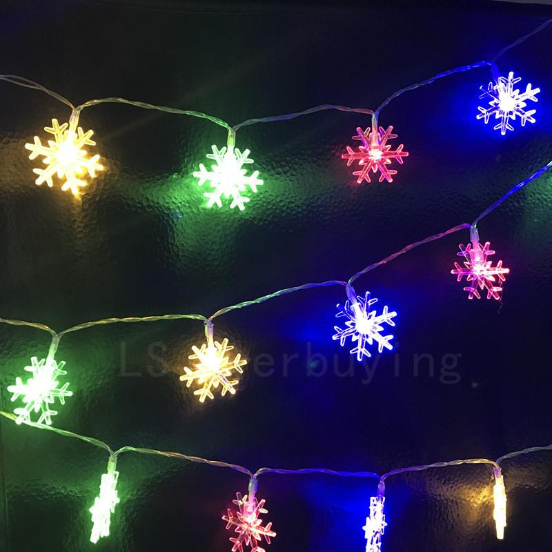 wholesale multicolor 2m 20led battery operated led string light fairy lights snowflake hanging outdoor decor garlands xmas holiday wedding patio string