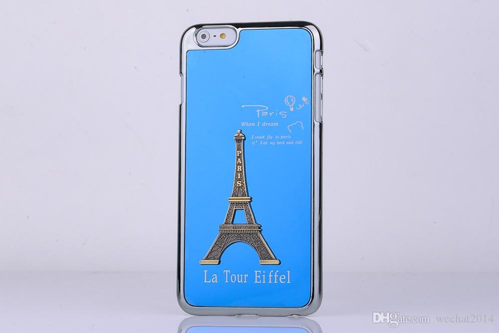 Eyfel Kulesi Vaka Metal Alüminyum Alaşım Eyfel Kulesi Kapak için Samsung Galaxy S3 S4 S5 S6 Kenar Artı Not 3 4 5 Hiçbir Paket