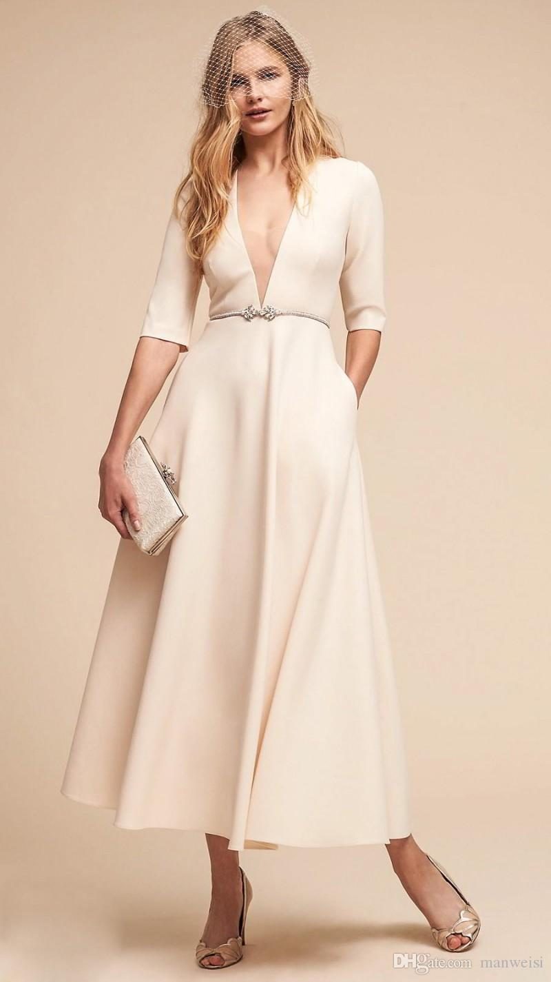 BHLDN 2018 Ivory Wedding Dresses Deep V Neck Half Sleeves Elegant Boho Bridal Gowns Long Ankle Length Beach Wedding Dress
