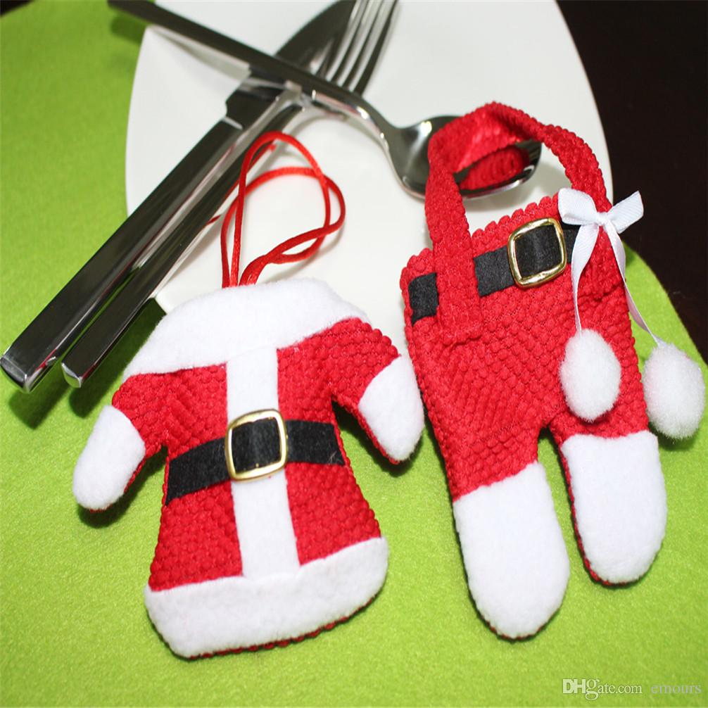 Christmas Santa Suit Set Handmade Mini Clothes Pants Shaped Christmas Santa Claus Cutlery Suit Silverware Holder Knives Folks Pockets