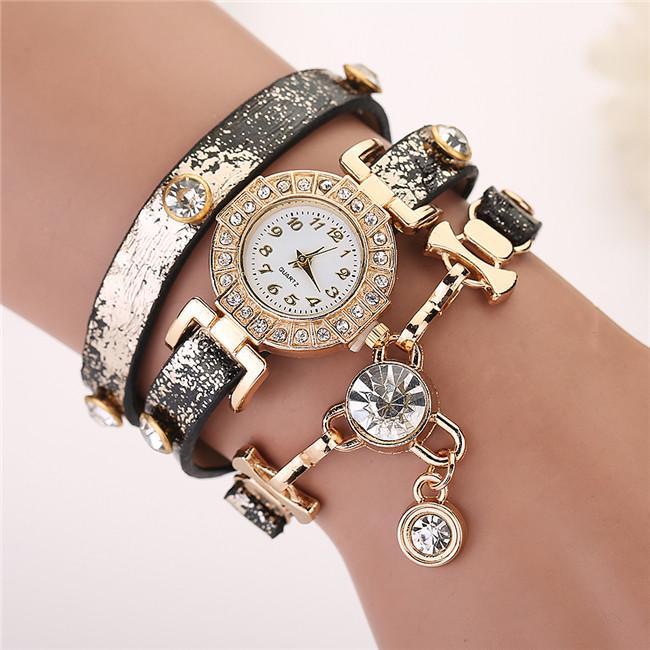2015 New Vintage Leather Strap Diamond Pendant Bracelet Quartz ...