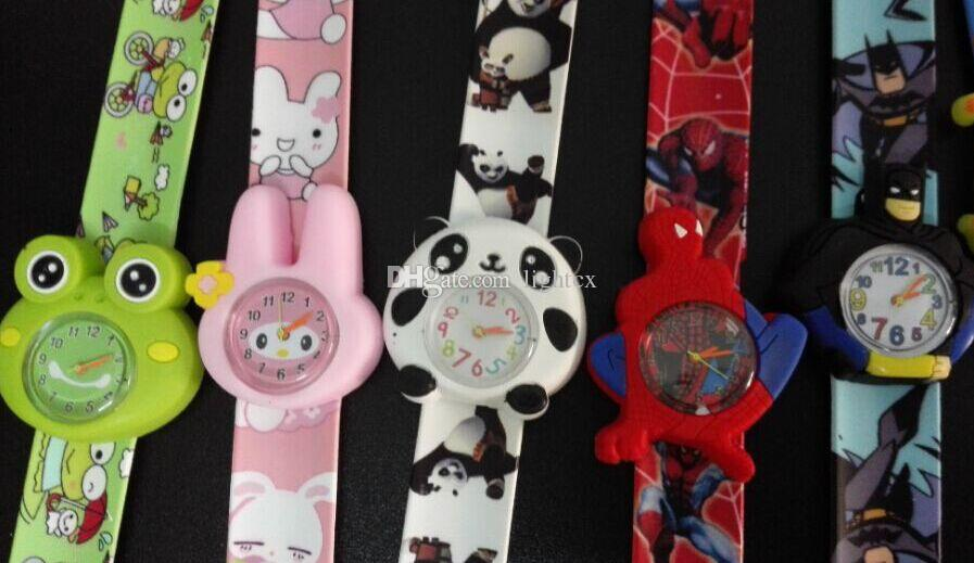 Silicone Coloful Candy Cartoon Slap watches 3D Kid Watch Spiderman Batman kids children Rabbit cartoon Snap slap watches.