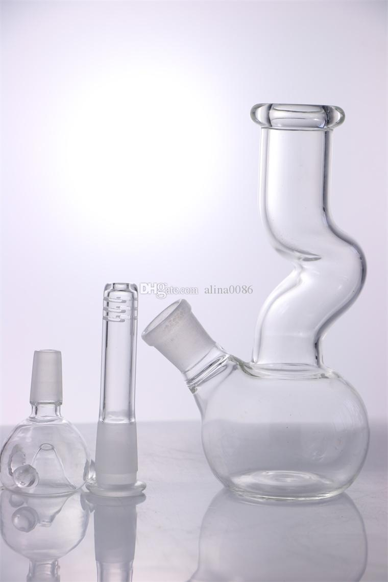 "HAND Mini Glass Bong ""clear UU"" 8 Inches Classics Z style Bubbler portable Water pipe Good function Pipe"