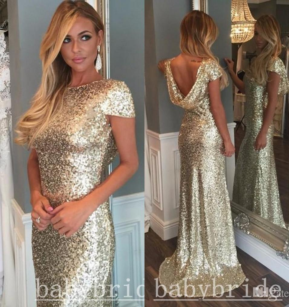 2016 New Sexy Backless Prom Dress Sparkle Sequined Mermaid Evening ...