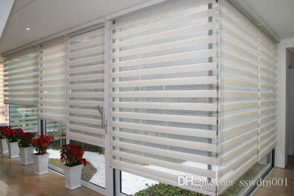 Custom Made Translucent Roller Zebra Persienner i vita linne Gardiner för vardagsrum 30 färger är tillgängliga