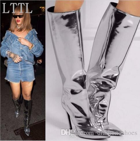 2017 Fashion Mujer Botas Silver Mirrored-leather Knee High Boots Pointed Toe Thigh High Boots Winter Hot Selling Women Boots