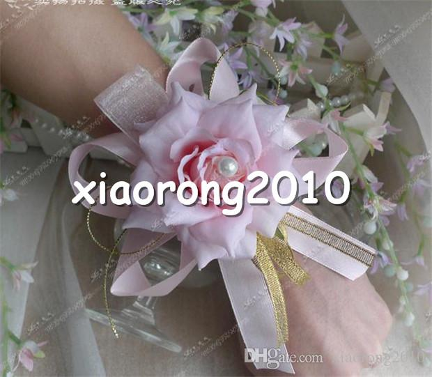 """Silk Rose Wrist Flower Dia. 9cm/3.54"""" Artificial Flowers Curling Roses with Fake Pearl for Wedding Centerpiece Bride Corsage"""