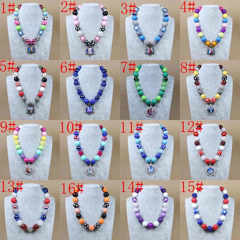 26 Styles New Children Chunky Necklaces Pendants Beaded Necklace ...