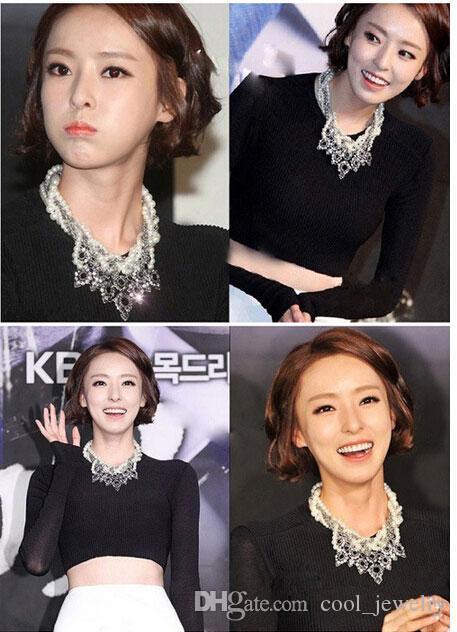 Женский короткий параграф цепи ключицы Корея жемчужный многослойные преувеличены моды в Европе и Америке ожерелье цепи ретро свитер