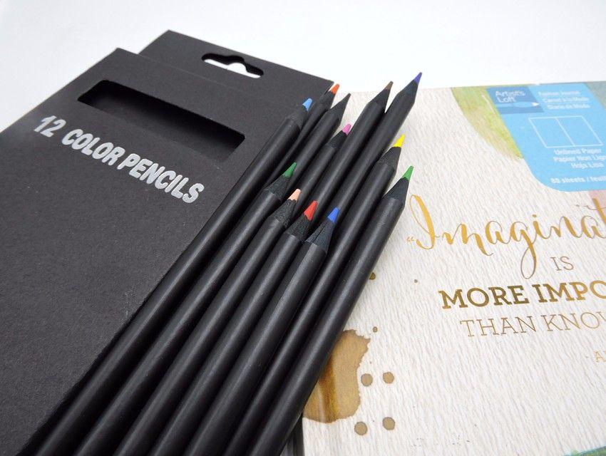 12 Adet / takım Değerli Renk Kalem Ambalaj 12 Farklı Renkler Renkli Kalemler Kawaii Okul Siyah Ahşap Kalemler Yüksek Kalite