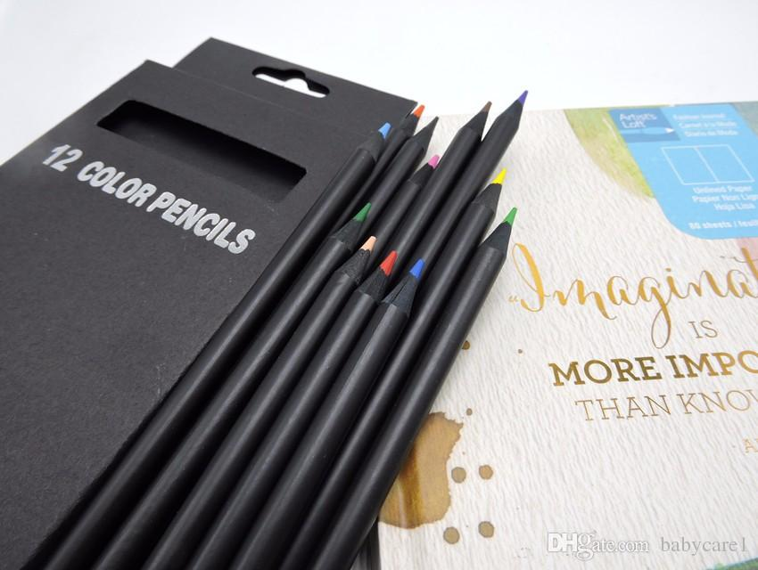 Valued Color Pencil Packaging 12 Different Colours Colored Pencils Kawaii School Black Wooden Pencils High Quality