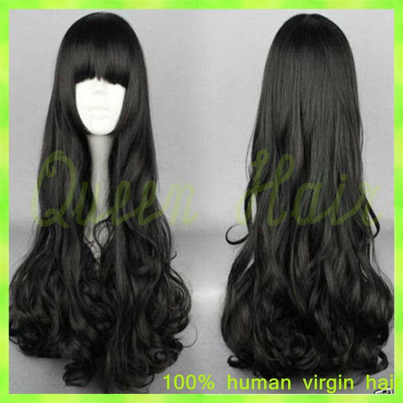 Virgin Brazilian Wavy Lace Wig Natural Black Color Brazilian Top Lace Wig For Black Women glueless full lace human hair wigs