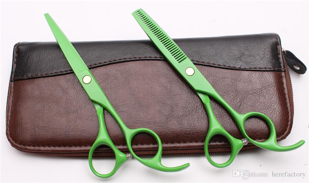 "C1023 5.5"" Japan 440C Purple Dragon Laser Green Professional Human Hair Scissors Barbers' Scissors Cutting Thinning Shears Salon Style Tools"
