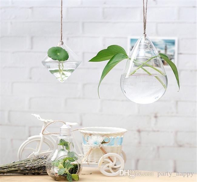 lower Implement Suspension Type Transparent Glass Vase Creative Pastoral Hydroponic Plant Infusion Bag Or Bottle Terrarium Wedding Decor