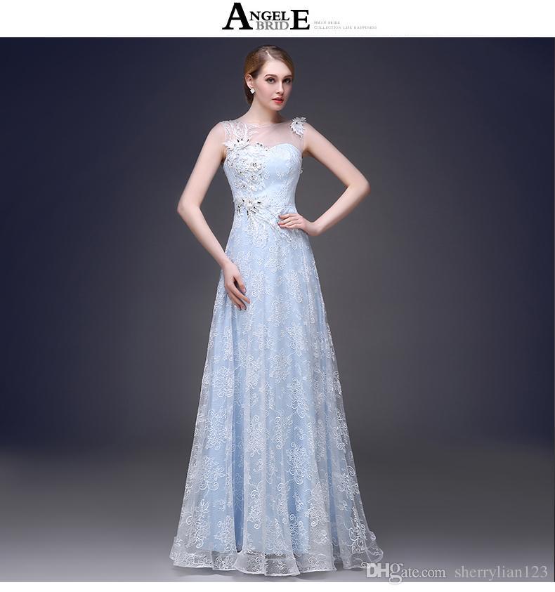 Großhandel 2015 Neue Design Party Kleider Für Frauen Baby Blue Lace ...