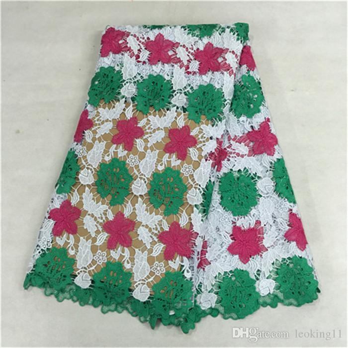 5yards/pcWonderful three color design embroidery African lace fabric with water soluble flower lace for dress BW96-4