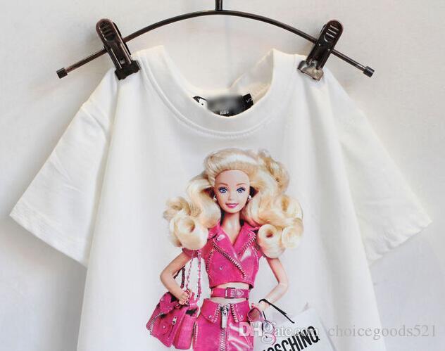 Summer children clothes girl cartoon suit set t-shirt+skirt 100% cotton pink color 4s/l