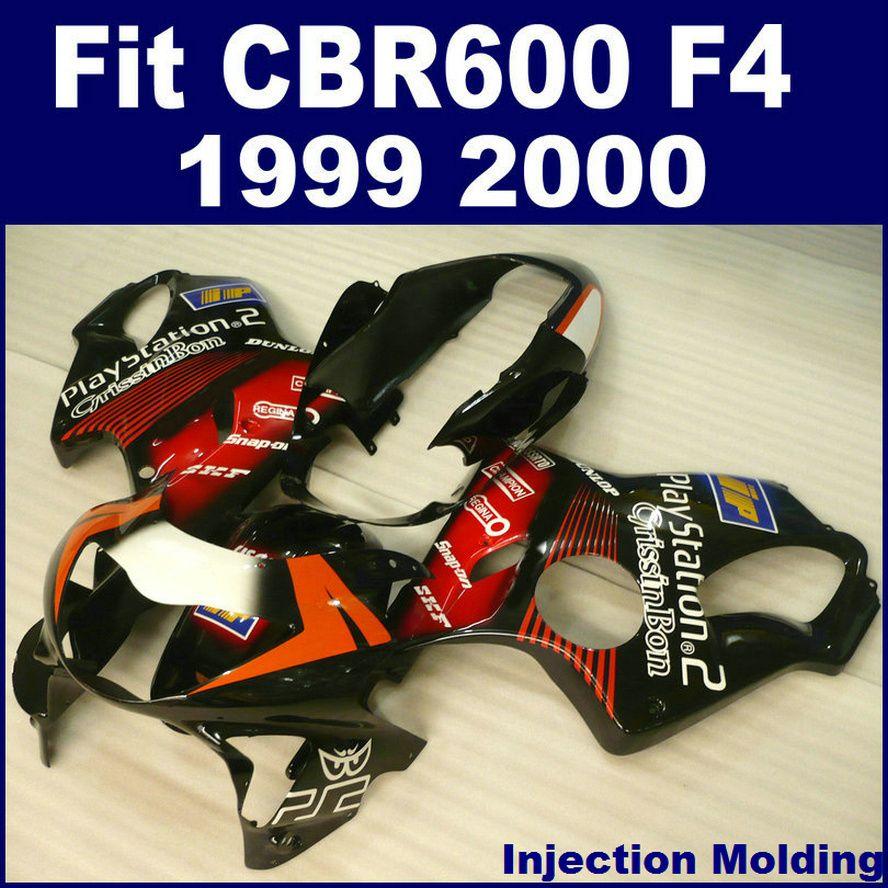 100 ٪ حقن أجزاء صب لهوندا CBR 600 F4 1999 2000 كاملة fairing أسود أحمر 99 00 CBR600 F4 fairings دراجة نارية JIKG
