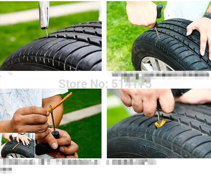 Car Bike Auto Tire Puncture Plug Repair Tool Kit For Tubeless Tyre Safety 3 Strip (10)