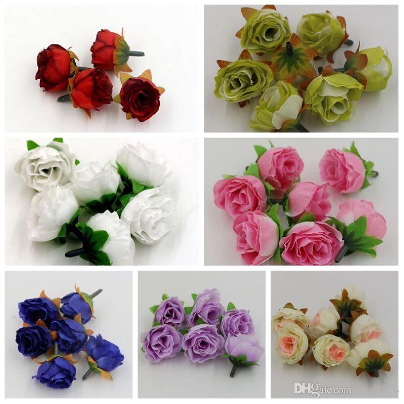 Gorąca wyprzedaż ! 500 sztuk 7-kolorowy herbata róża głowa sztuczny kwiat dekorowanie kwiatów ZA81