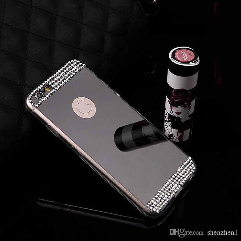 For iPhone7 7plus 5 6 6plus Case Electroplate Mirror Cellphone Soft TPU Back Cover With Glitter Rhinestone Button Slots DHL Free SCA067