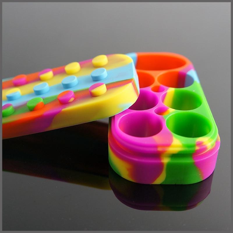 Yapışmaz Balmumu Konteynerler 6 + 1 silikon kutu büyük balmumu can Silikon konteyner Renkli yapışmaz balmumu kavanozlar dab depolama kavanoz yağ vape kalem tutucu