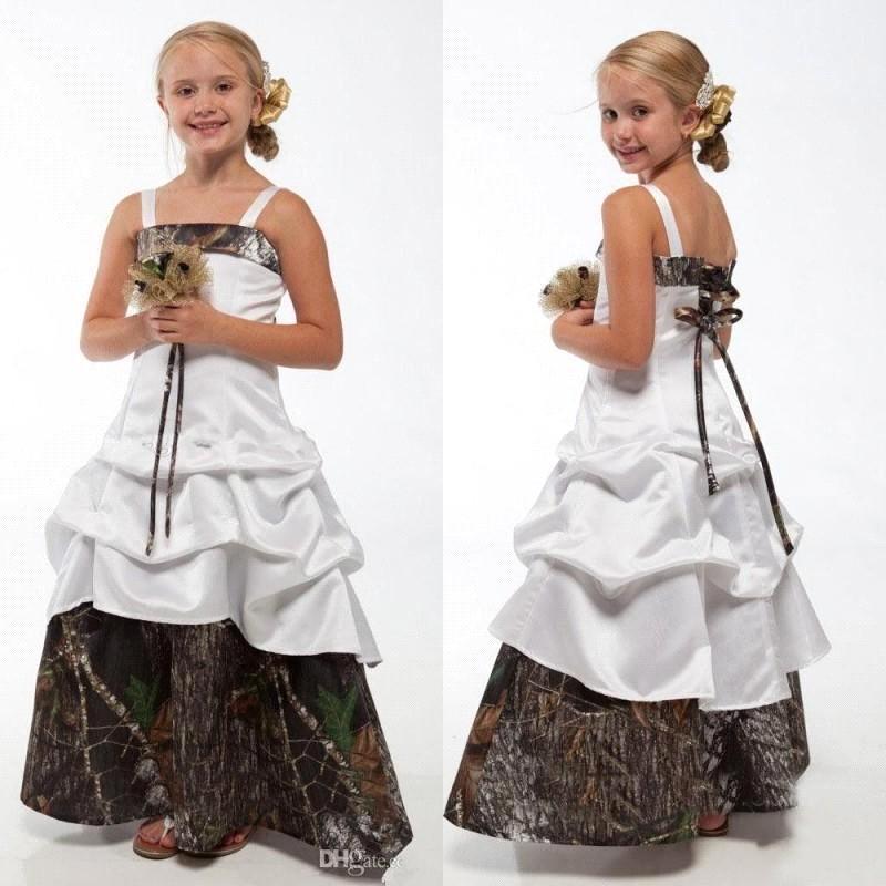 Belle Camo Fleur Robes De Mariage Pour La Mariage Spaghetti Camouflage Princesse Junior Robes De Demoiselle D'honneur Nouveaux Enfants Anniversaire Robes BA1784