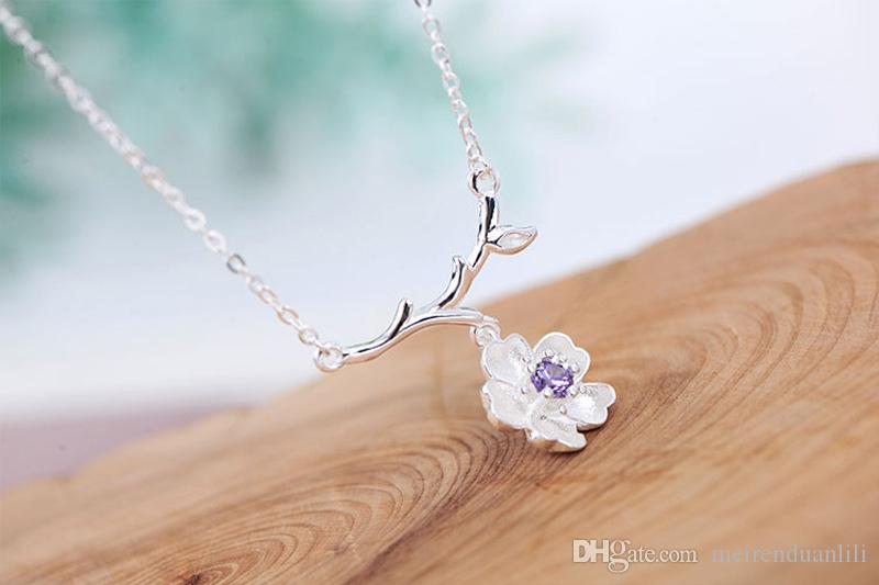 Pink /Purple Cherry Necklace South Korea Sweet Clavicle Chain Flowers Branches Charm Necklace For Women Ladies Girls Cheap Wholesale