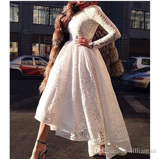2016 Designer Saudi Arabian A-Line White Lace Prom Dresses O-Neck Long Sleeves Dubai Evening Dresses Ankle Length Party Dress Gowns d154