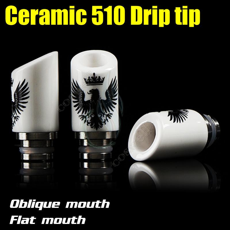 New Ceramic Drip Tip Eagle Skull Style 2 types 510 metal thread Drip Tips Wide Bore e cig cigarette vape Mod RDA ego Atomizer RBA Mouthpiece