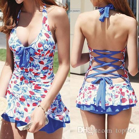 3903127082 Womdee Pin Up Sexy Swimsuit Push Up Halter Bikini Tankini Swim Dress  Swimwear Bathing Suit Beachwear Strawberry Bikini Swimsuit Swimwear Online  with ...