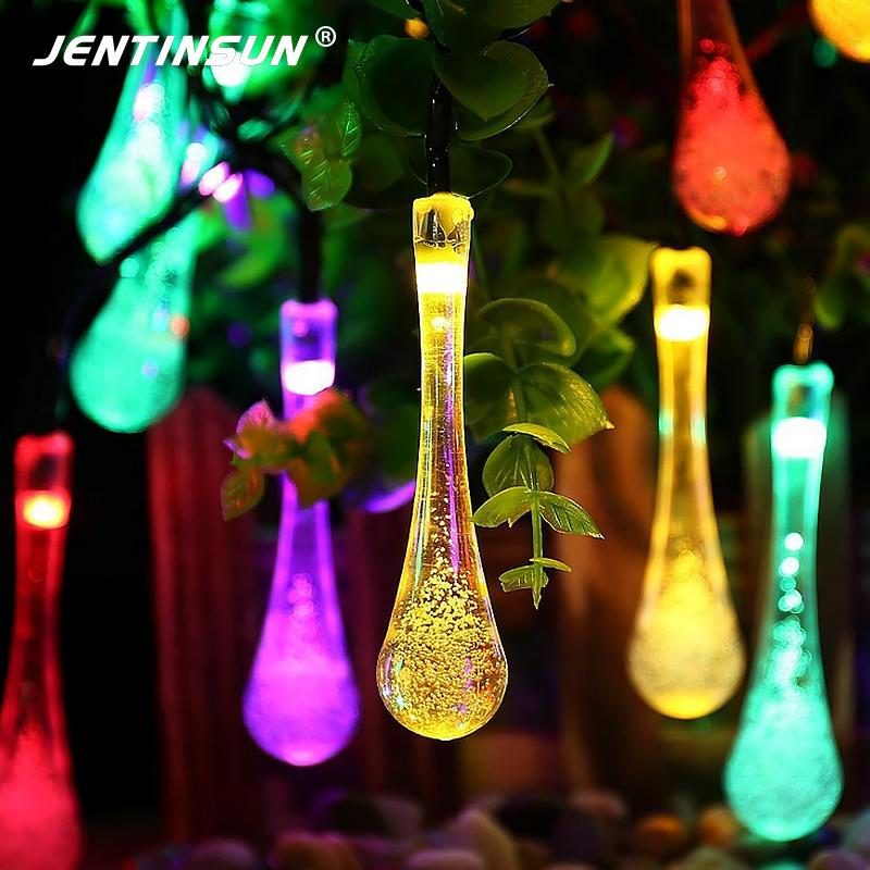 Wholesale 5m 20 Solar Led String Lights Christmas 2 Modes Waterproof Water  Drop Outdoor Solar Fairy String Light For Wedding Garden Decor Outdoor Patio  ...