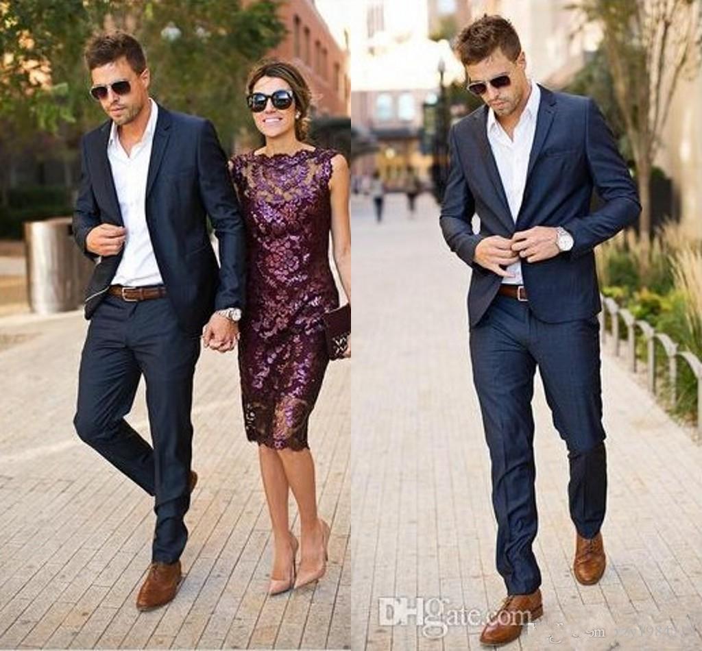 Hot Designer Navy Blue Stylish Tuxedos One Button Peak Label Mens ...