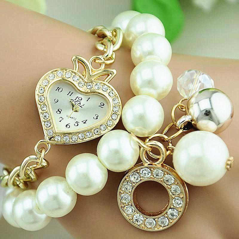 Romantic Heart Dial Design Wristwatch Rhinestone Pendents Pearls ...