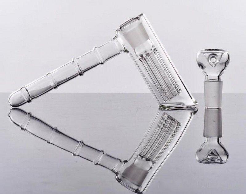 Cheap sulla vendita 14cm tubi dell'acqua 18.8mm Joint Glass Hammer 6 Braccio bicchiere Percolator Bubbler pipe di vetro Gong Recycler Pipe ad acqua