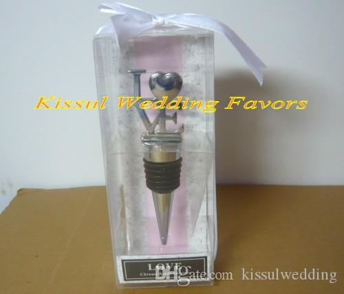 Classic and Elegant Wedding and Party Favors of Love Chrome Wine Bottle Stopper Wedding Gifts For Guests and Bridal showers