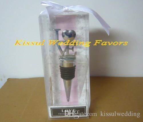 Elegant Bridal shower Party Favors of Love Chrome Wine Bottle Stopper Wedding Favors For Guest Gifts
