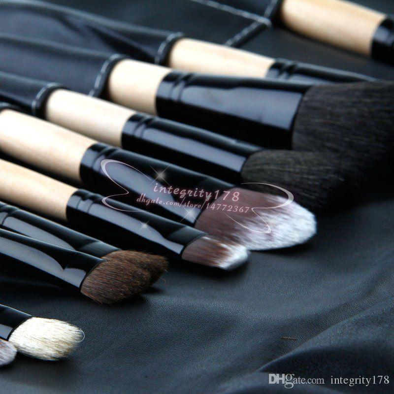 wood color Professional Makeup Brushes with Goat Hair Cosmetic Brush Set Kit Tool with soft case DHL