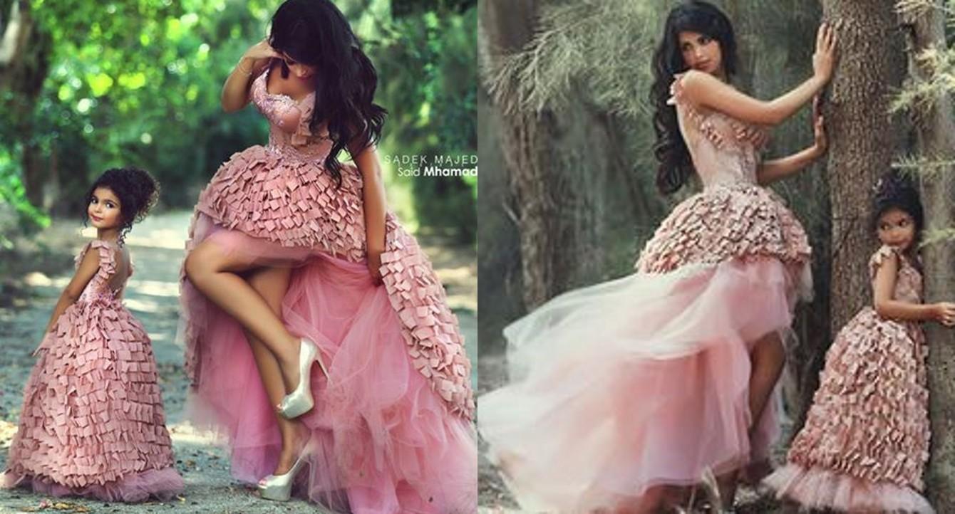 2016 pink princess flower girls 39 dresses ball gown mother and daughter matching dresses hi lo. Black Bedroom Furniture Sets. Home Design Ideas