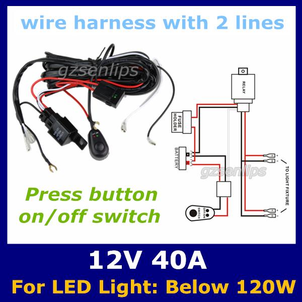 auto wiring harness with 2 lines kit led online cheap auto wiring harness with 2 lines kit led hid light wiring harness kit for led light bar at crackthecode.co