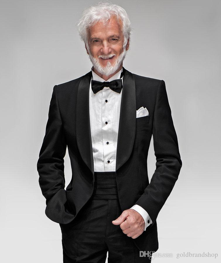 Custom made two pieces shawl color hot sale black wedding suits groom tuxedos men's dress classic groom tuxedos wedding suits