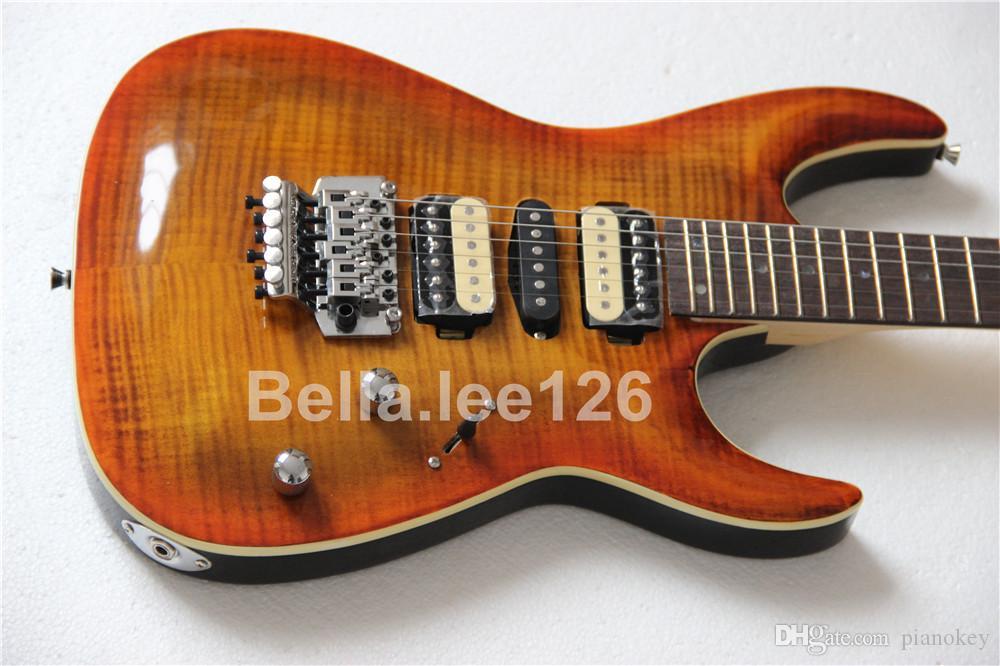 무료 배송 24 프렛, tremelo 시스템, 갈색 불꽃 메이플 탑과 전기 6 현 기타