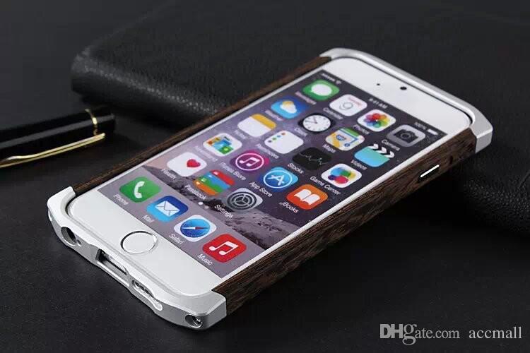 För iPhone 6/6 plus träfodral trä bambu aluminium metall hybrid ram liten midja cleave hard back cover w / läder påse väska 4,7 5,5