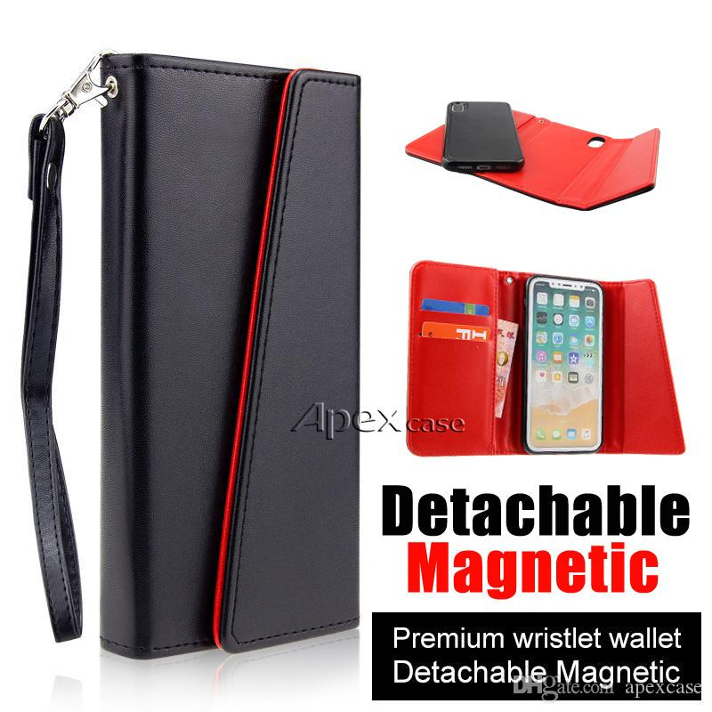 Premium Leather Wallet Cases For iPhone X 8 7 6 Plus Detachable Magnetic Snap-on With Card Slot Flip Case Cover